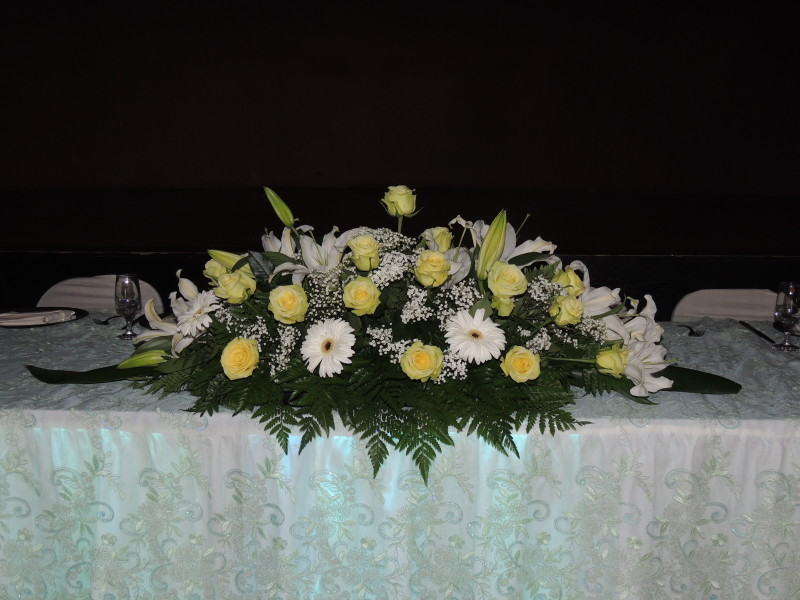 Wedding Arrangement With Yellow Roses, Lilacs & Daisies With Baby's Breath