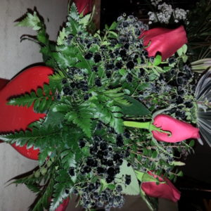 Valentine Arrangement With 6 Red Roses & Assorted Black Flowers