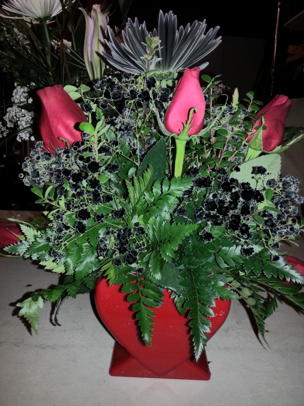 Red Roses & Assorted Black Flowers In Heart Shaped Vase | Alex Flowers