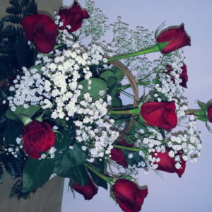 Dozen Red Roses With Baby 's Breath In Basket
