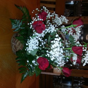 Dozen Red Roses & Baby's Breath In Basket