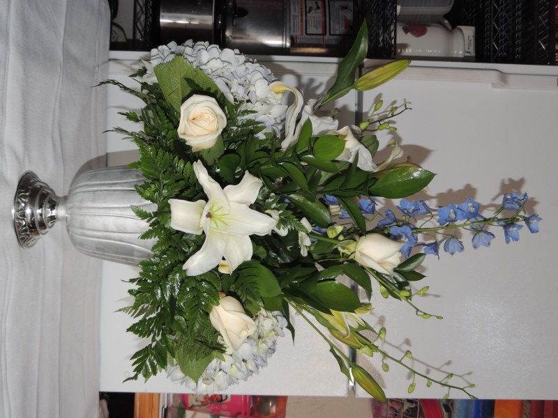 White Roses, White Lilies & Mums