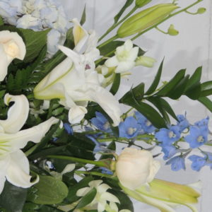 White Roses, White Lilies & Blue Bonnets