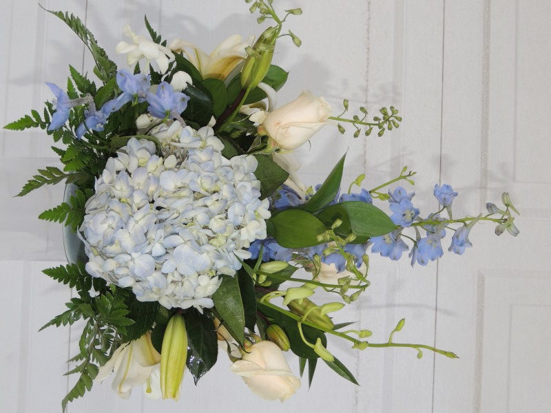 White Roses, White Lilacs, Mums & Blue Bonnets
