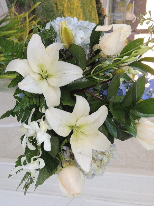 White Roses, White Lilies, Mums & Blue Bonnets