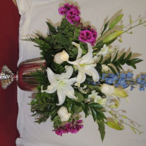 Large Arrangement of White Roses, White Lilies &Assorted Flowers
