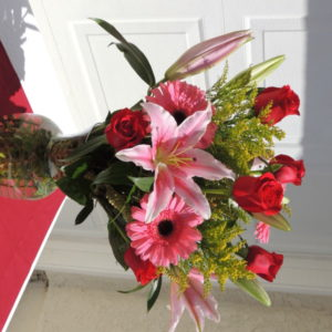 Red Roses, Pink Carnations, Pink Lilies & Assorted Flowers
