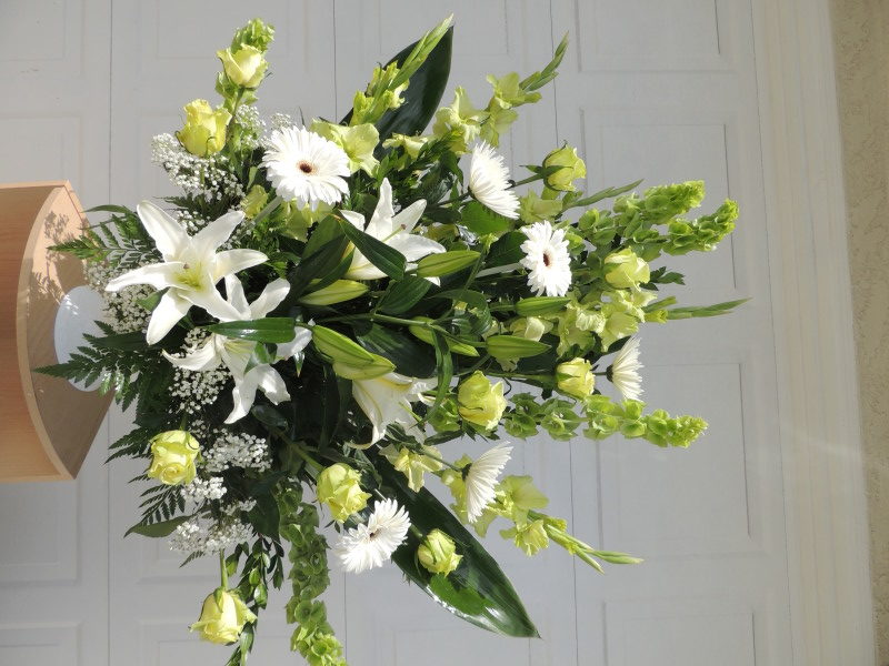 Large Arrangement of Yellow Roses, Daisies & Lilies With Baby's Breath