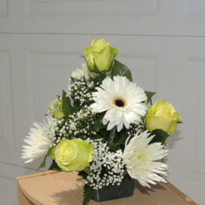 Yellow Roses, White Mums & White Daisy In Ceramic Bowl