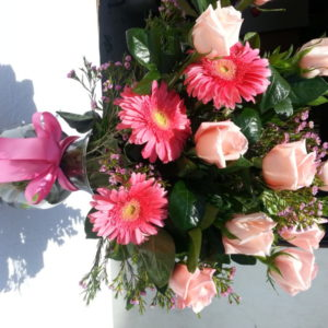 Dozen Pink Roses, Pink Daisies & Assorted Flowers