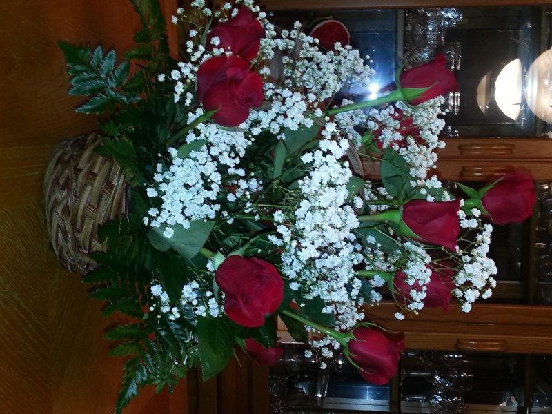 Dozen Red Roses & Baby's Breath In Basket
