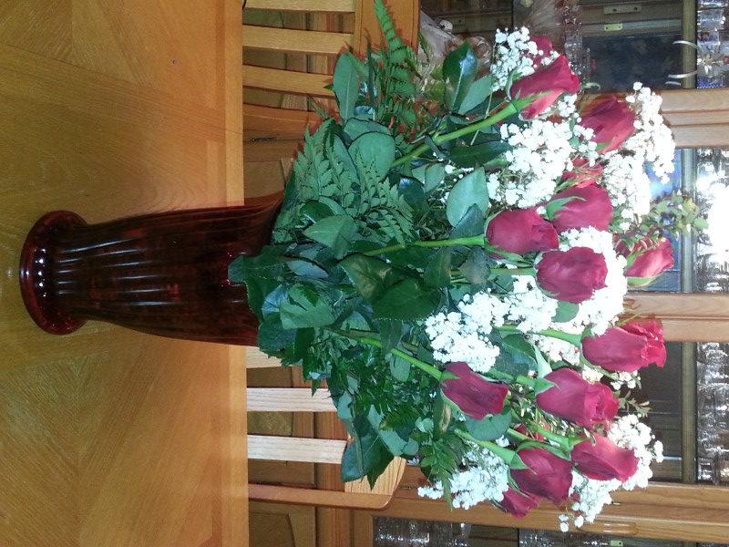 Dozen Red Roses & Babys Breath