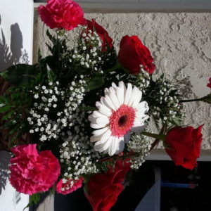 6 Red Roses, White Daisy & Pink Carnation With Baby's Breath