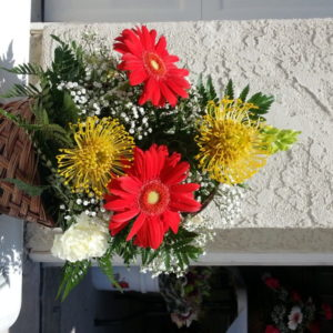 Red Daisies & Assorted Flowers With Baby's Breath In Ceramic Wicker Basket