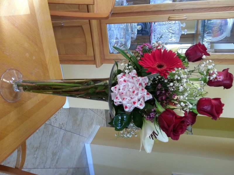 6 Red Roses, Red Daisy, Lilacs & Assorted Flowers With Baby's Breath