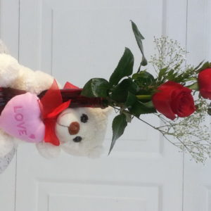 Two Red Roses With Baby's Breath In Red Vase With Teddy Bear