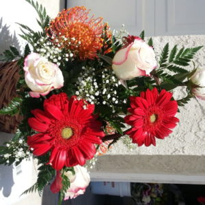White Roses, Red Daisies & Assorted Flowers With Baby's Breath