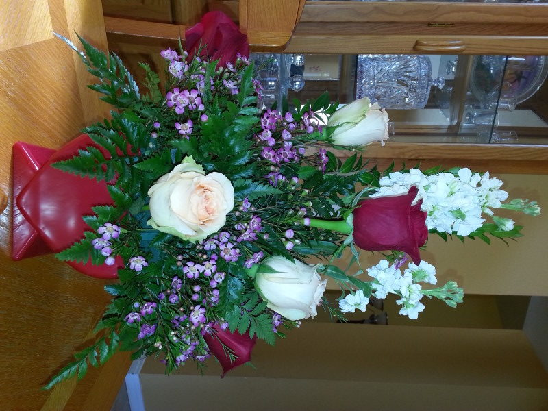 Valentine Arrangement With 3 Red Roses, 3 Yellow Roses & Baby's Breath
