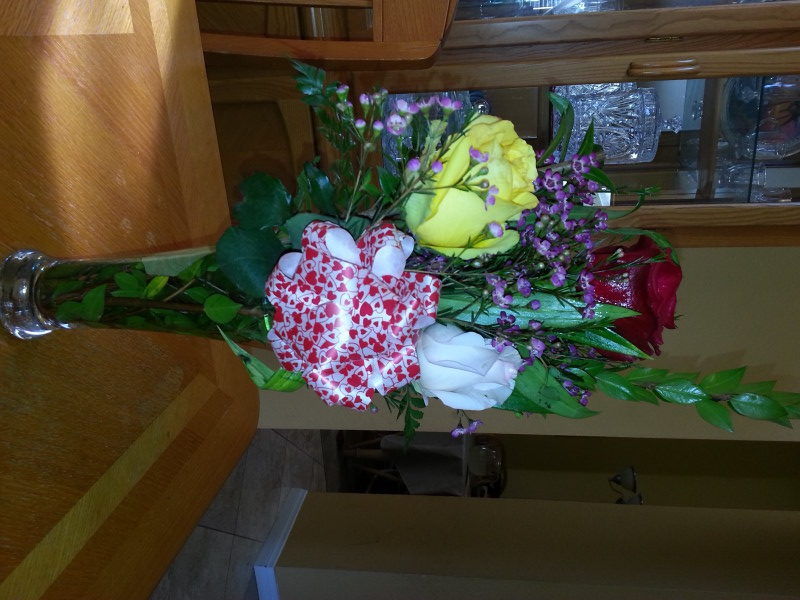 Red, Yellow & White Roses & Assorted Flowers