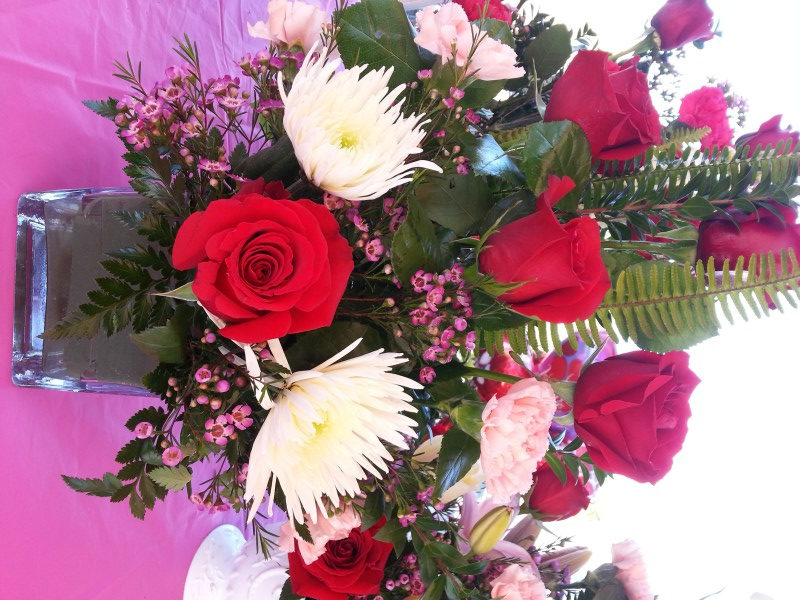 Red Roses, Pink Carnations & Assorted Flowers