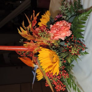 Autumn Arrangement With Birds Of Paradise, Assorted Flowers And Candle