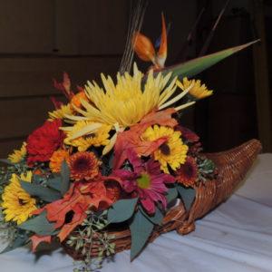 Autumn Arrangement In Cornucopia