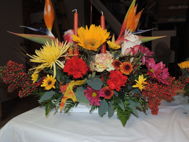 Large Autumn Arrangement With Birds Of Paradise, Assorted Flowers And Candles