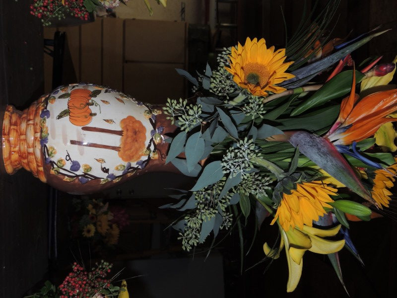 Autumn Arrangement With Birds Of Paradise And Assored Flowers