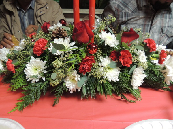 Red And White Carnation Christmas Arrangement