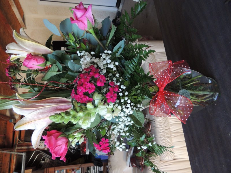 Pink Roses, Lilies & Assorted Flowers With Baby's Breath