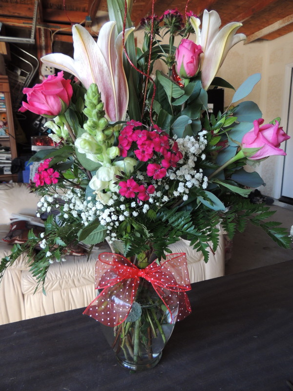 Pink roses lilies assorted flowers with babys breath alex flowers pink roses lilies assorted flowers with babys breath mightylinksfo